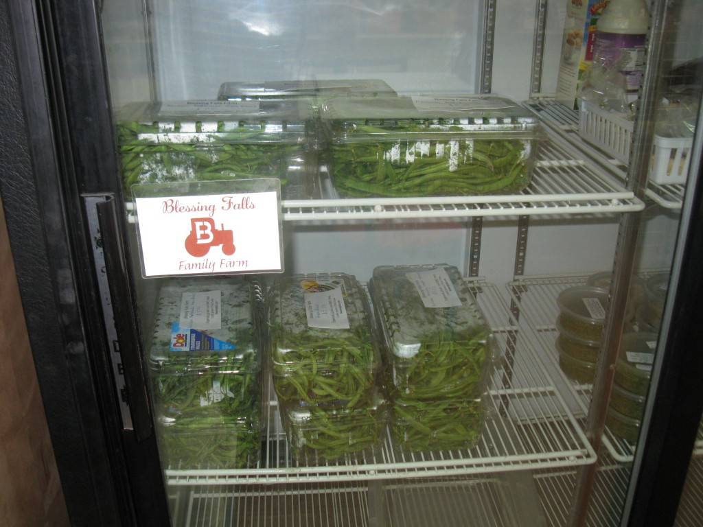 Our fresh heirloom green beans are waiting for you in the cooler.  Look for the  Blessing Falls logo and name!