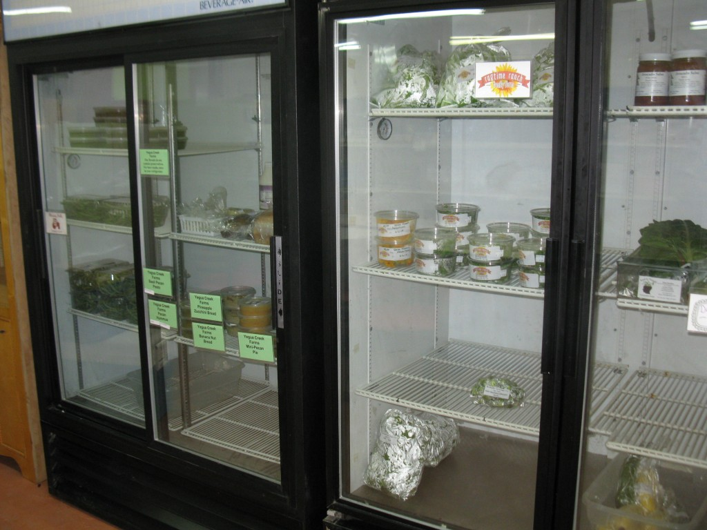 Several coolers hold a good selection of local prepared foods, fresh produce, and Ragtime Ranch's famous microgreens.