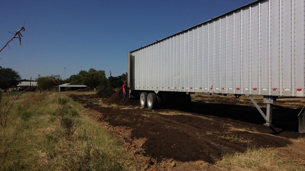 All Mushroom Compost out of the trailer and ready to spread.