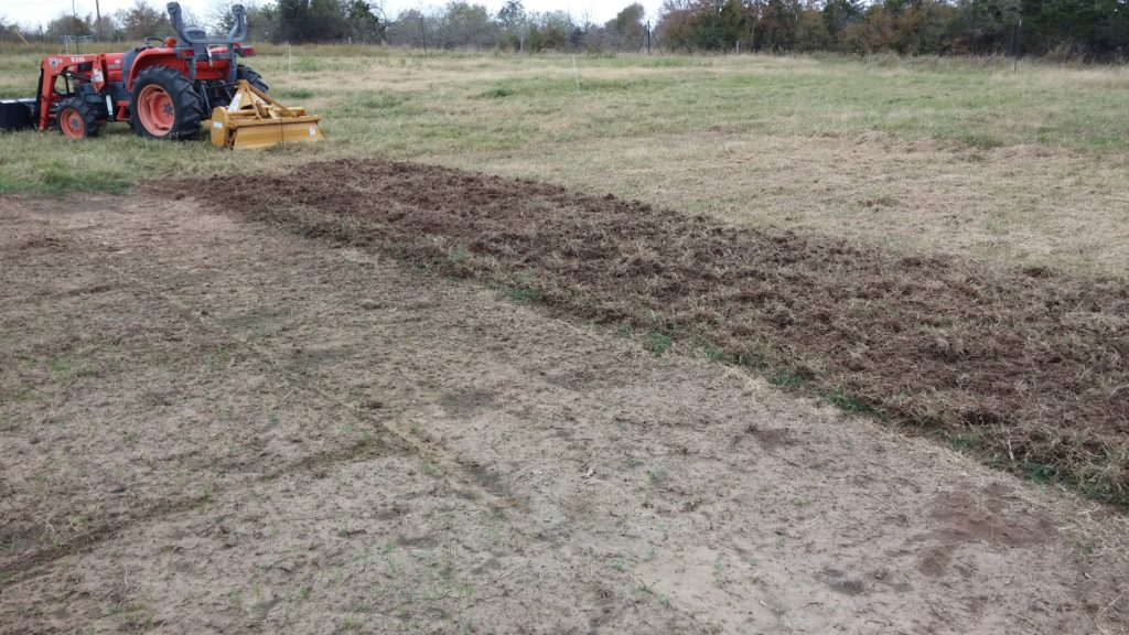 First tilling of open field, next to normal garden area